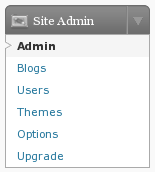wordpressMU site admin menu